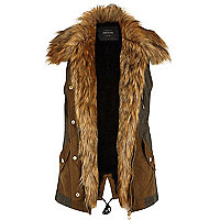 Khaki sleeveless faux fur lined gilet