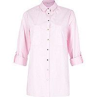 Baby pink loose fit poplin shirt