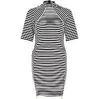 Navy stripe high neck bodycon dress