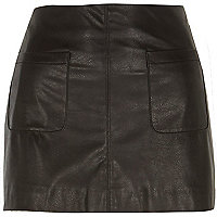 Black Chelsea Girl leather-look mini skirt