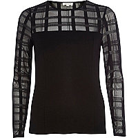Black check mesh yoke fitted top