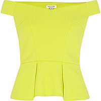Lime off-the-shoulder peplum top