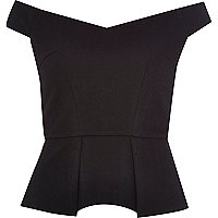 Black textured bardot peplum top