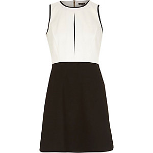 Black and white colour block A-line dress