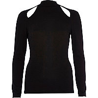 Black cut out turtle neck top