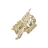 Gold tone filigree foldover ring