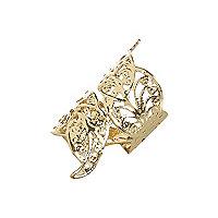 Gold tone filigree foldover ring