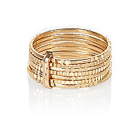 Gold tone stacked finger top ring