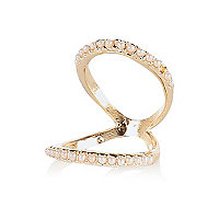 Gold tone pearl knuckle ring