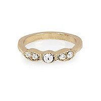 Gold tone diamante midi ring