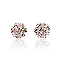 Pink gemstone oversized stud earrings