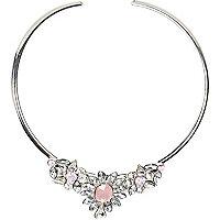 Silver tone gemstone flower choker necklace