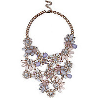 Gold tone pink flower statement necklace