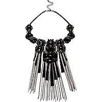 Silver tone black statement dangle necklace