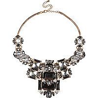 Gold tone gemstone statement necklace
