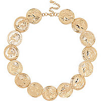 Gold tone coin repeater necklace