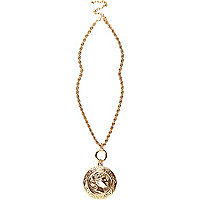 Gold tone coin pendant necklace