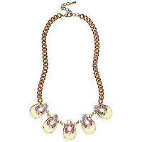 Gold tone teardrop gemstone repeater necklace