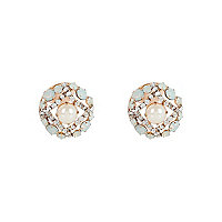 Gold tone pearl and mint stone stud earrings