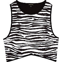 Black zebra print racer back crop top