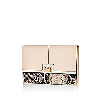 Cream snake print clutch bag