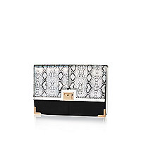 Black snake print clutch bag