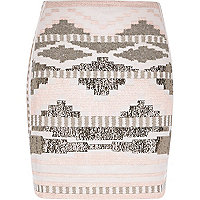 Pink aztec print woven mini tube skirt
