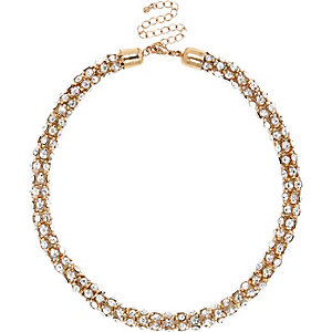 Gold tone diamante short rope necklace