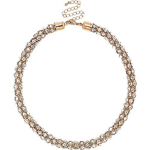 Gold tone diamanté short rope necklace