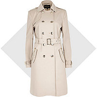 Cream long sleeve traditional trench coat
