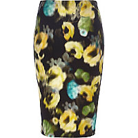 Black blurred floral print midi skirt