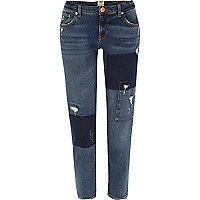 Mid wash contrast panel Eva girlfriend jeans