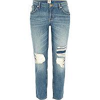Light wash ripped Eva girlfriend jeans