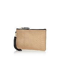 Cream leather wristlet purse