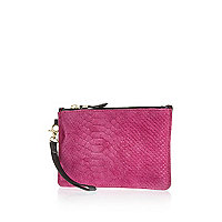 Pink leather wristlet purse