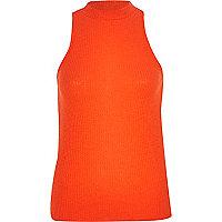 Orange turtle neck rib top