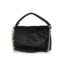 Black asymmetric foldover shoulder bag