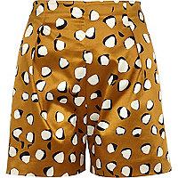 Beige high waisted animal print shorts