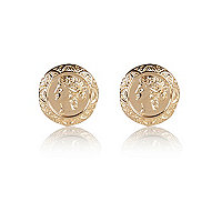 Gold tone oversized coin stud earrings