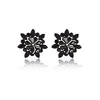 Black gemstone flower stud earrings