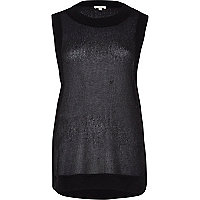 Black open weave loose fit knitted top