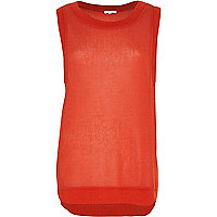 Red open weave curved hem knitted top