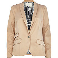 Beige fitted tailored blazer