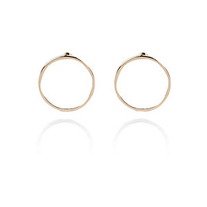 Gold tone circle stud earrings