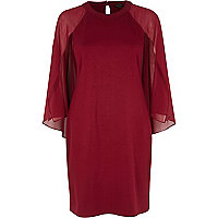 Dark red chiffon cape sleeve shift dress