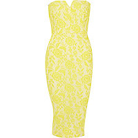Yellow lace bandeau dress