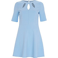 Light blue cut out fit and flare dress