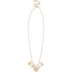 Gold tone charm necklace pack