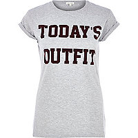Grey today's outfit print fitted t-shirt