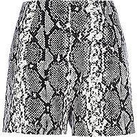 Black snake print high waisted shorts